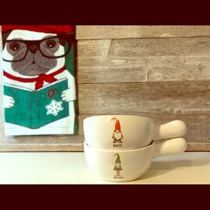 New! RAE DUNN Gnome Soup Bowls Set of 2 🎄🎁